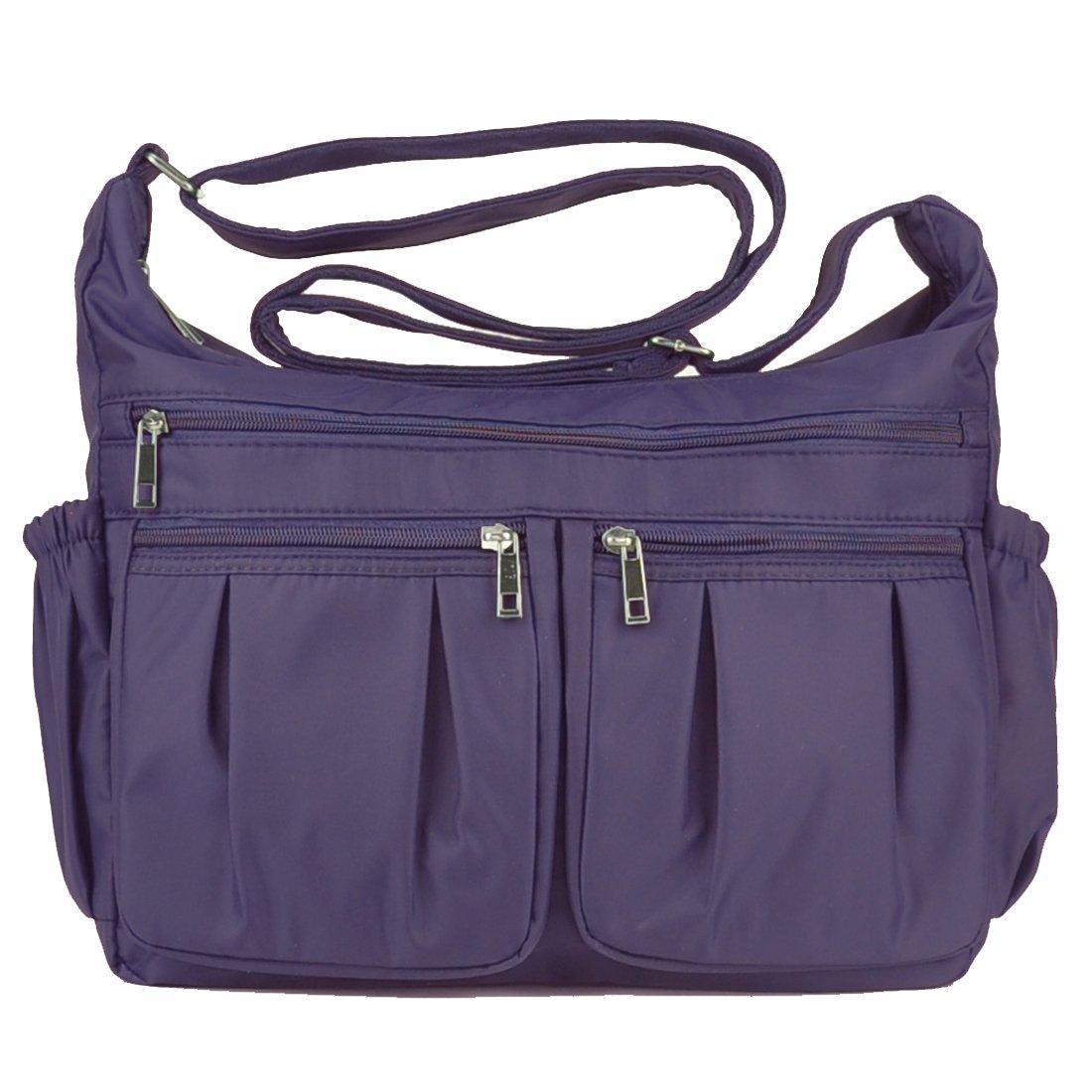 Volcanic Rock Shoulder Bag Corss-body Purse Waterproof Nylon Handbags with Zipper for Women(8981_Purple-Large)