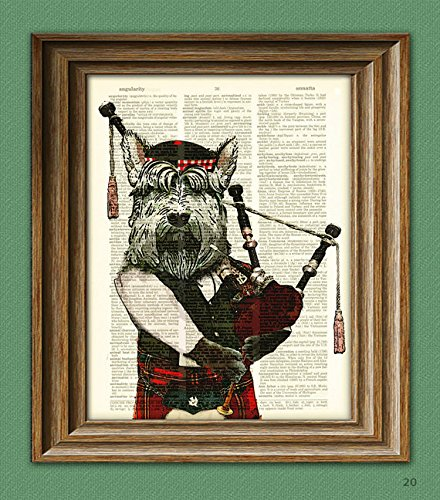 Hamish the Bagpiping Scottish Terrier with bagpipes and Scottish Tam hat Scottie dog beautifully upcycled dictionary page book (Art Terrier Dog Scottish)