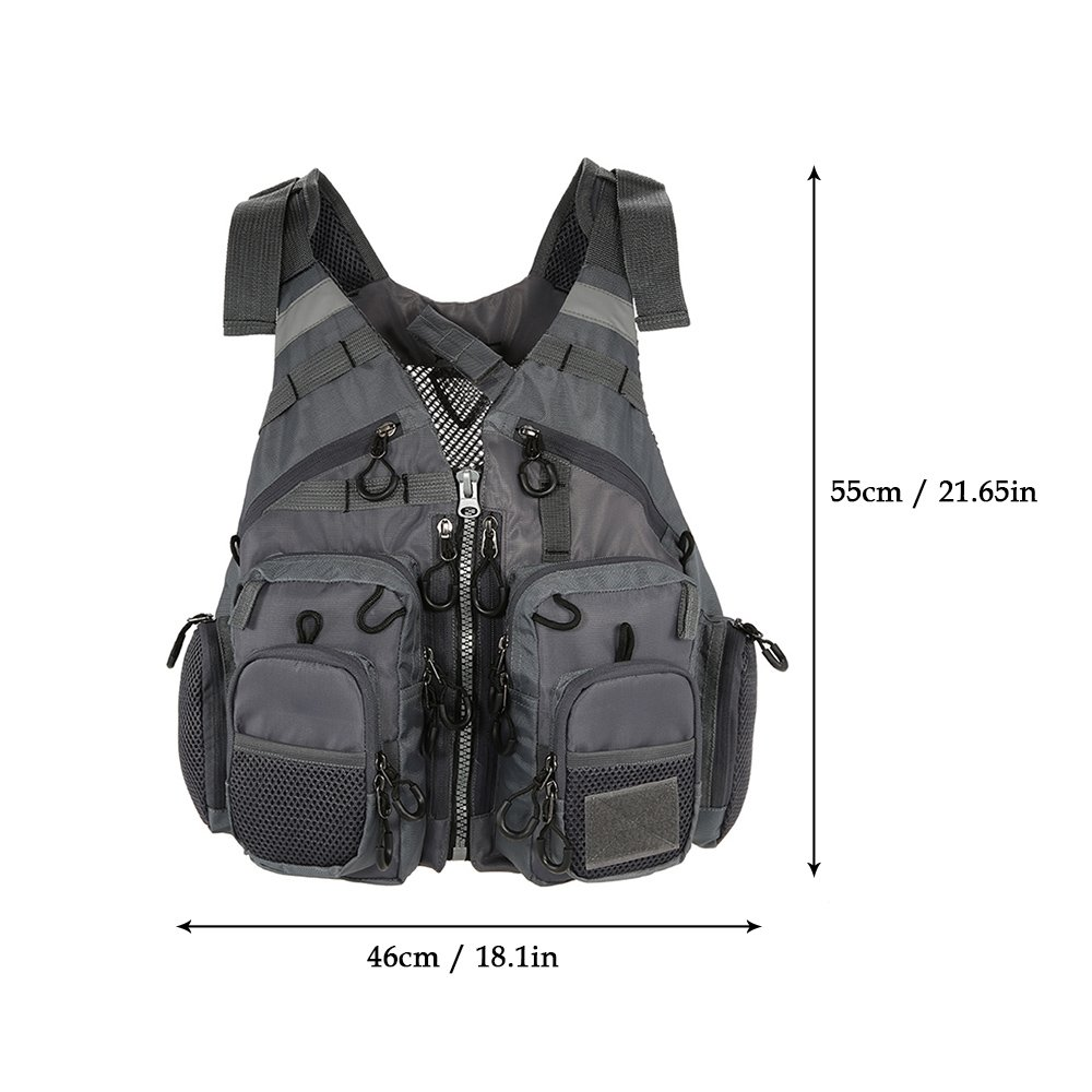 Lixada Fly Fishing Vest,Fishing Safety Life Jacket Breathable Polyester Mesh Design Fishing Vest for Swimming Sailing Boating Kayak Floating Foam Without Foam Optional