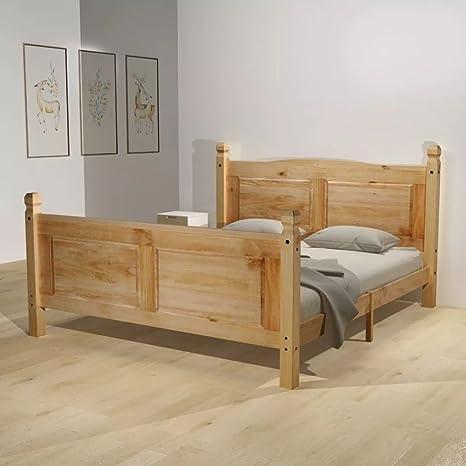 WEILANDEAL Cama con colchon Mexican Pine Corona 140x200 cm Camas Mantiene el Estilo Mexicano de mobiliario