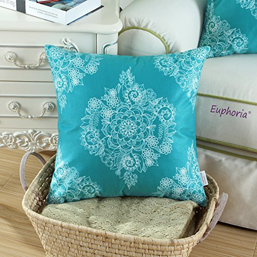 CaliTime Pack of 2 Cozy Throw Pillow Cases Covers for Couch Bed Sofa, Vintage Mandala Floral, 20 X 20 Inches, Teal