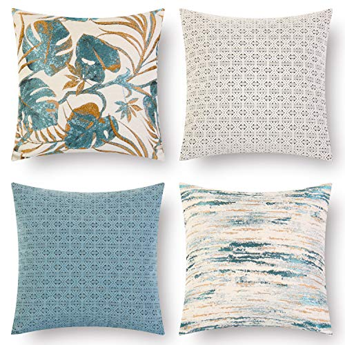 18' Beige Decorative Pillows - Altrobene Decorative Throw Pillow Cushion Covers Set of 4, 18 x 18 Inch, 100% Polyester, Blue Beige Golden Pattern for Sofa Couch Bed