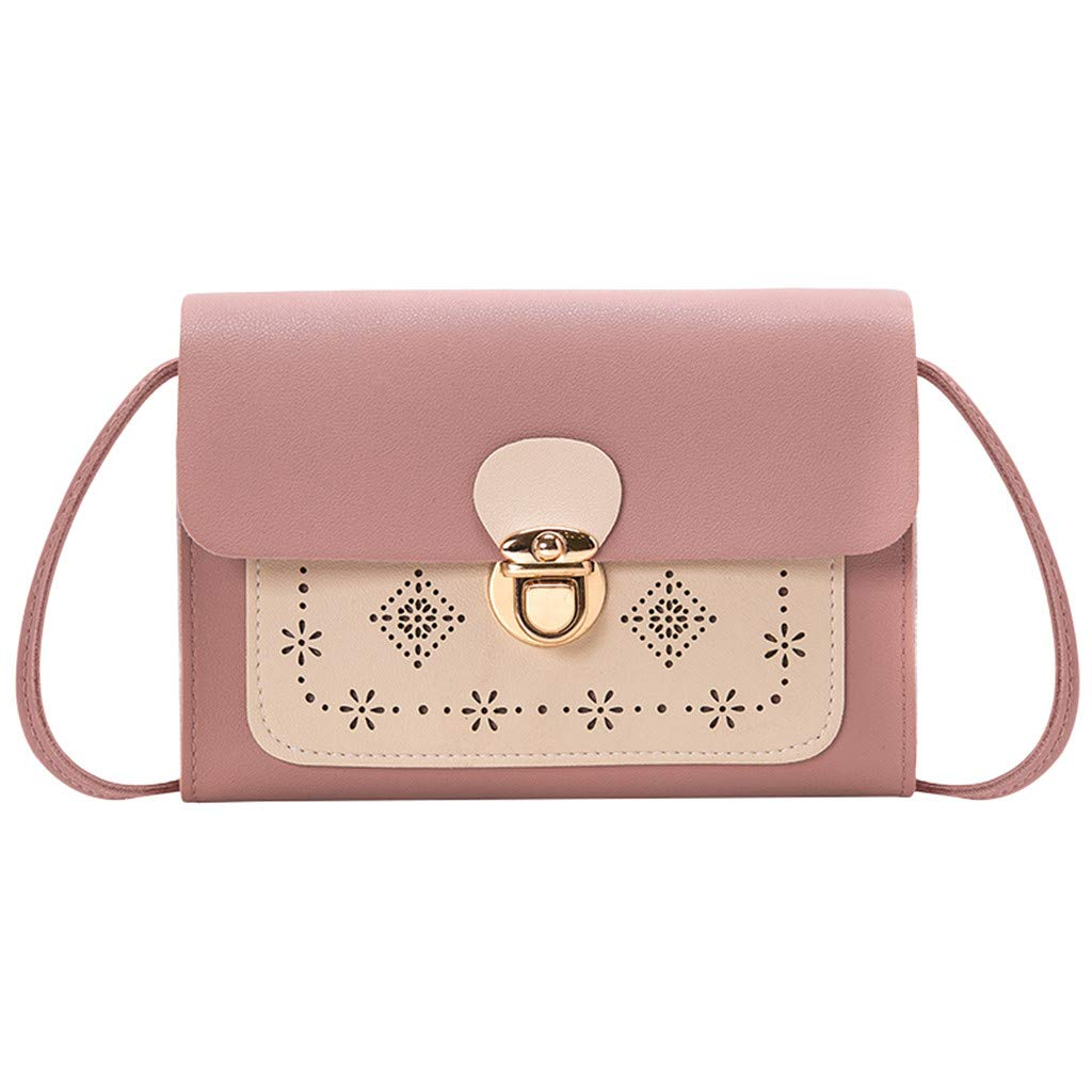 Youngh Handbags for Women Shoulder Bags Tote Satchel Color Matching Hollow Diagonal Package Pink by Youngh Bag (Image #1)