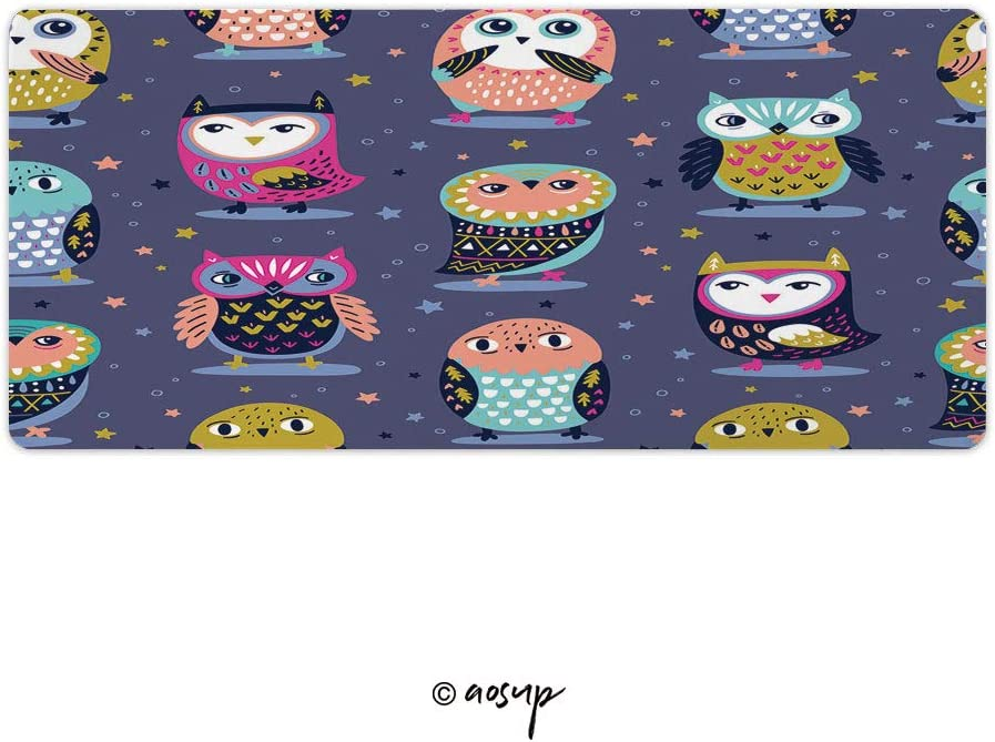 PC 35.4 x 15.7 NO-75705 Homenon Thin Gaming Mouse Pad Vector Seamless Pattern with Cartoon Owls Large Thick Extended Mouse Mat Desk Pad for Keyboard