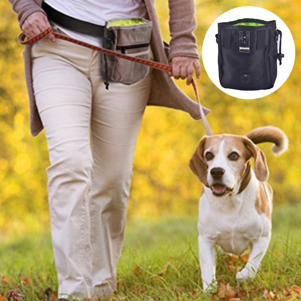 Romote Pet Snack Bag Dog Treat Training Pouch Easily Carries Pet Toys Treats Built-in Poop Bag Dispenser Pet Accessories 13cm*6cm*18cm,Black