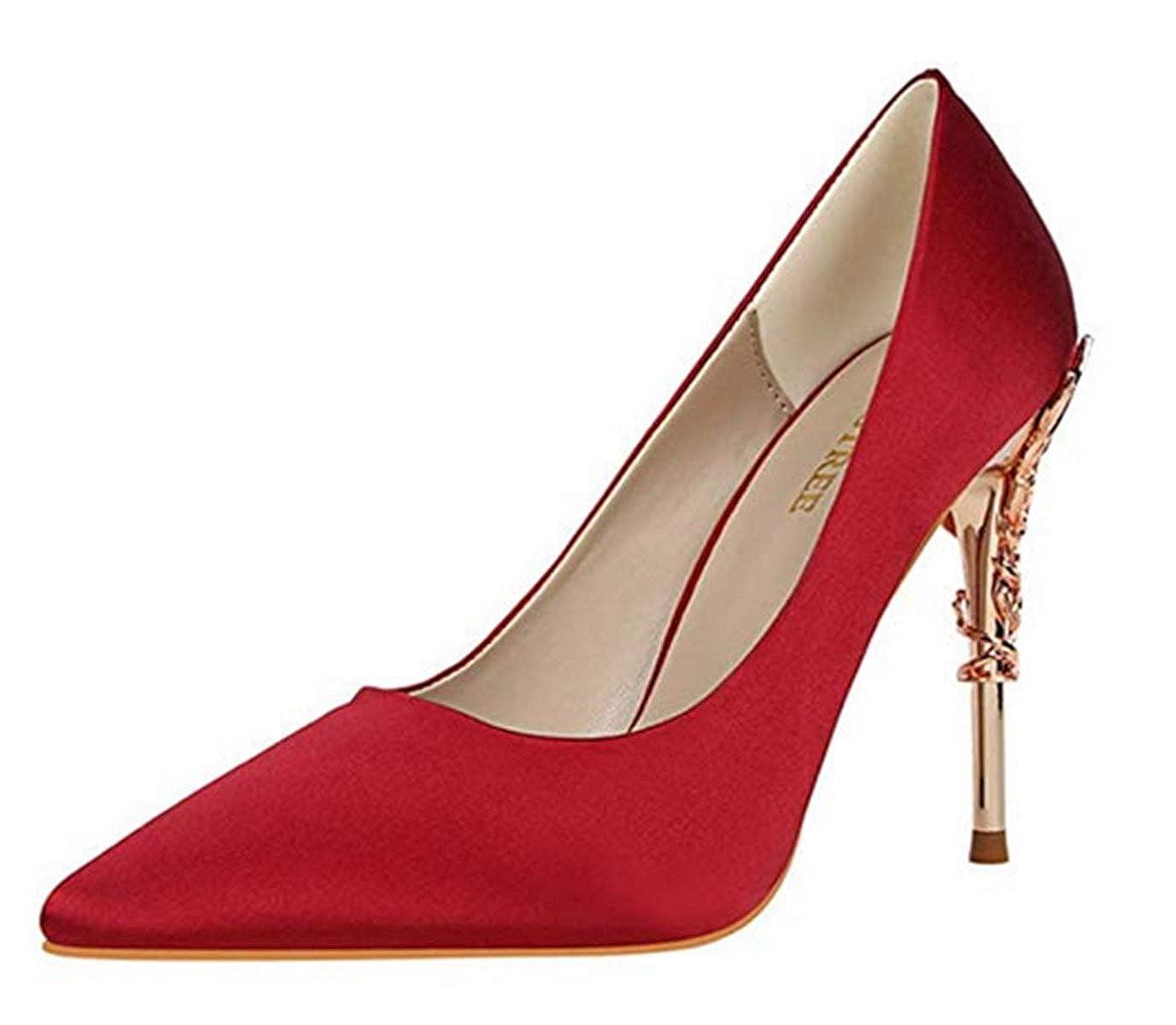 Damen Spitz Satin Satin Satin High Heels Stilettoabsatz Stilettos Schuhe Mit Hohen Absätzen Sexy Nachtclub Partyschuhe Wild Einzelne Schuhe Mode Pumps Schuhe e94ba1