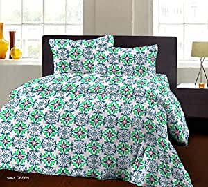 Double Bedsheets by Bombay Dyeing Breeze Plus Cotton Double Bedsheet and 2 Pillow Covers(5083 A) - Green