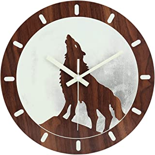 jomparis 12' Night Light Function Wooden Wall Clock Vintage Rustic Country Tuscan Style for Kitchen Bedroom Office Home Silent & Non-Ticking Large Number Battery Operated Indoor Clocks