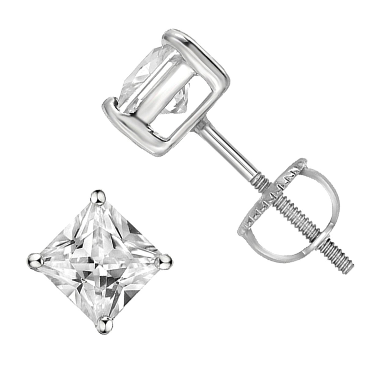 925 Sterling Silver Princess Cut Square Cz Screw Back Stud Earrings Rhodium Plated - 5x5