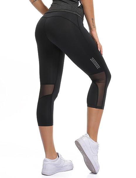 d75bdb111a CFR New Mesh Workout Capris Skinny Fitness Leggings Stretch Tight Fit Yoga  Pants