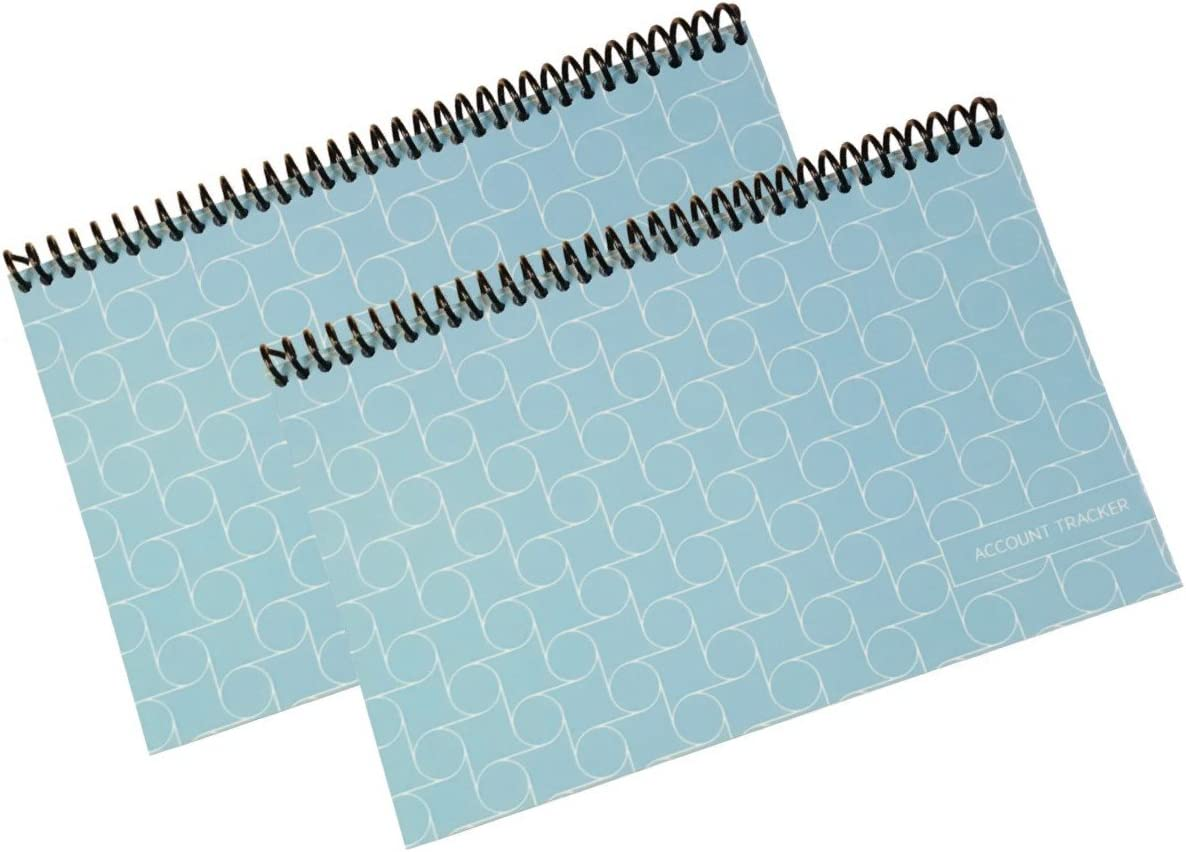 The Superior Check and Debit Card Register - Simple Account Tracker - W I D E Edition - Blue - 2-Pack