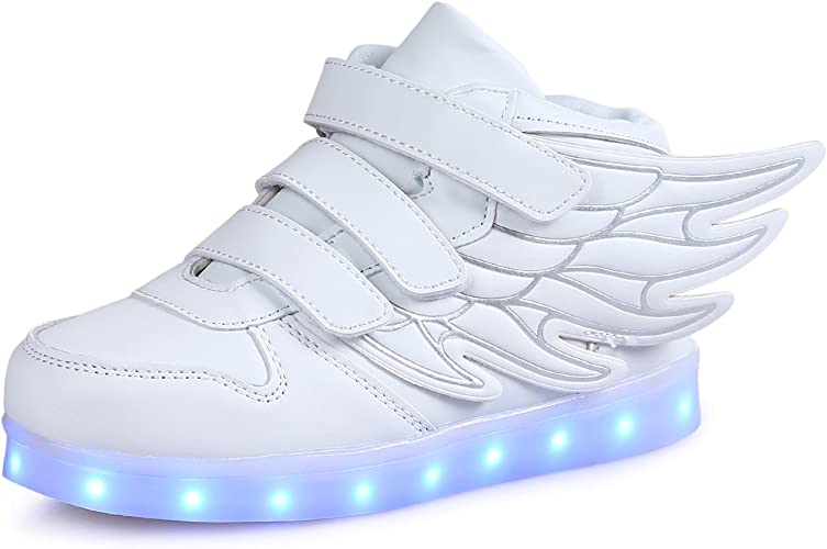 USB Charging LED Kids Casual Boys Girls Sneakers Glowing Shoes Genuine Leather