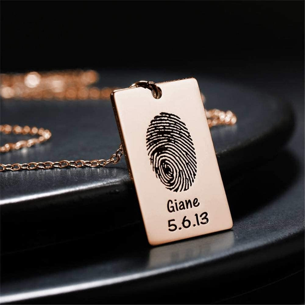 Yvettewu Customized Photo Necklace Fingerprint Square Tag Necklace with Engraving Name and Date Rose Gold Plated Copper