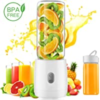 LuckLife Portable Glass Juicer Blender, Personal Juicer Cup USB Rechargeable Household Fruit Mixer-Six Blades in 3D Electric Blender with 4000mAh Rechargeable Battery-400ML Water Bottle