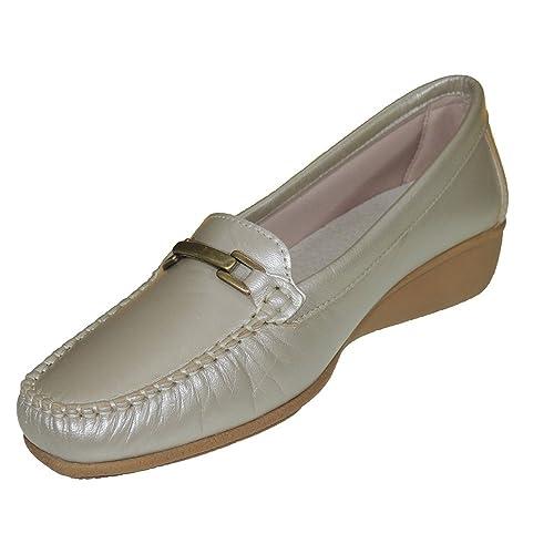 Antonella 2014 Mocasín Piel Tipo 24 Horas Cuña 4 Cm para Mujer CHAMPANG Talla 36: Amazon.es: Zapatos y complementos