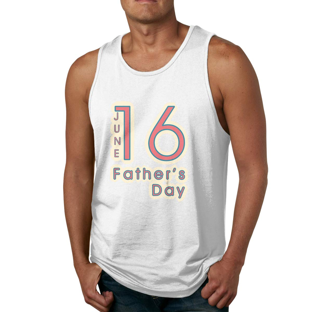 Man Cotton Pure Color O-Neck June 16 Fathers Day Sports Tanks