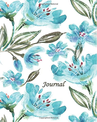 Journal: Blue Green Flowers 8x10 - GRAPH JOURNAL - Journal with graph paper pages, square grid pattern (8x10 Watercolor Flowers Graph Journal Series) pdf