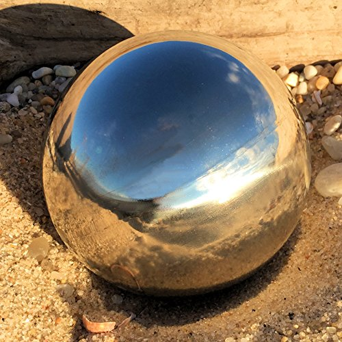 Whole House Worlds The Crosby Street Stainless Steel Gazing Ball for Homes and Gardens, 5 1/4 Inches Diameter, Silver Mirror Globe, By by Whole House Worlds (Image #4)