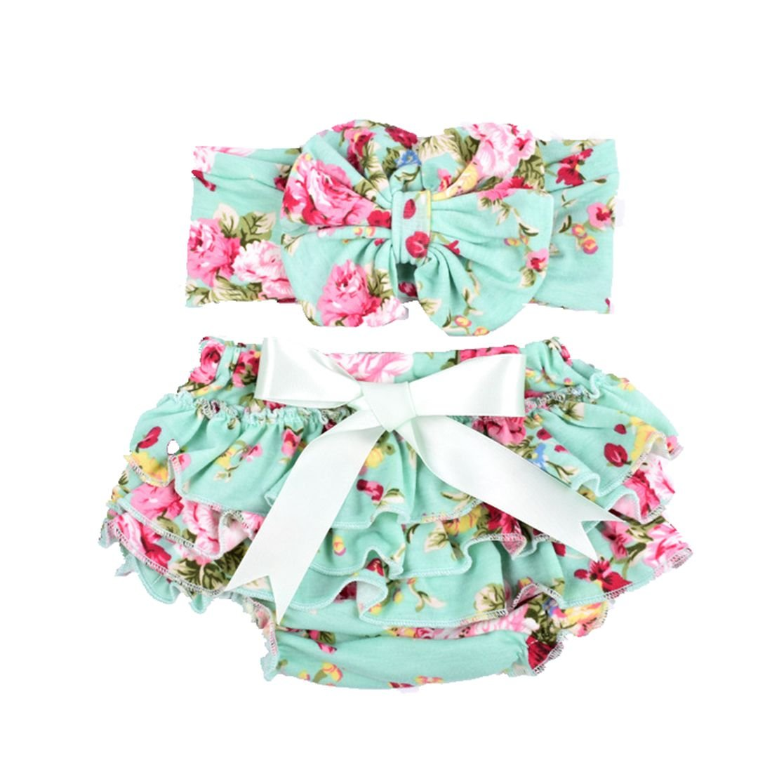 Baby Girl's Bloomer and Headband Set with Bowknot Soft Lace Ruffle Diaper Cover Yzjcafriz