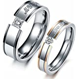 LAVUMO Him Her Couple Rings Stainless Steel Anniversary Engagement Promise Wedding Band My Love CZ
