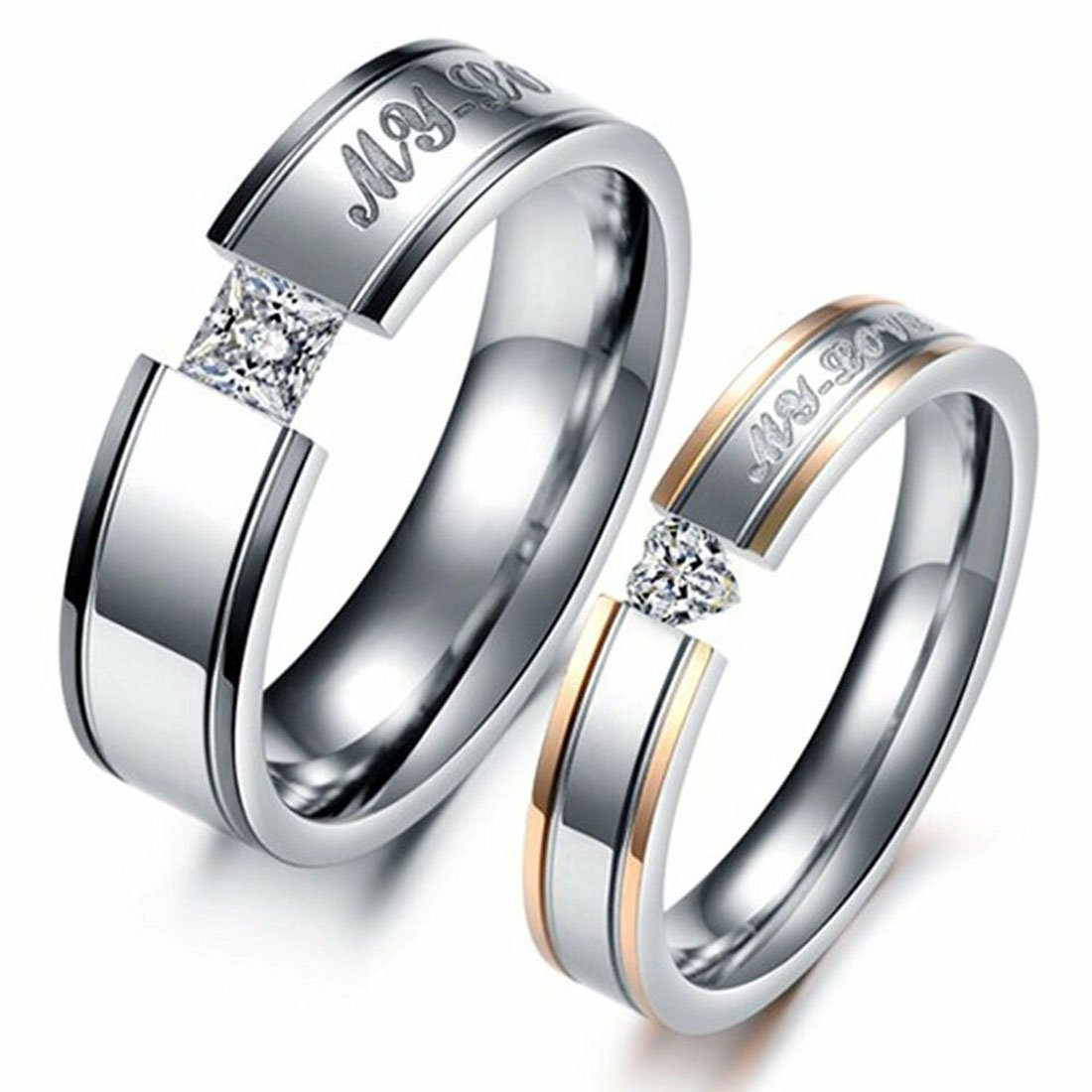 LAVUMO Him Her Couple Rings Stainless Steel Anniversary Engagement Promise Wedding Band My Love CZ (men 9 & women 8)