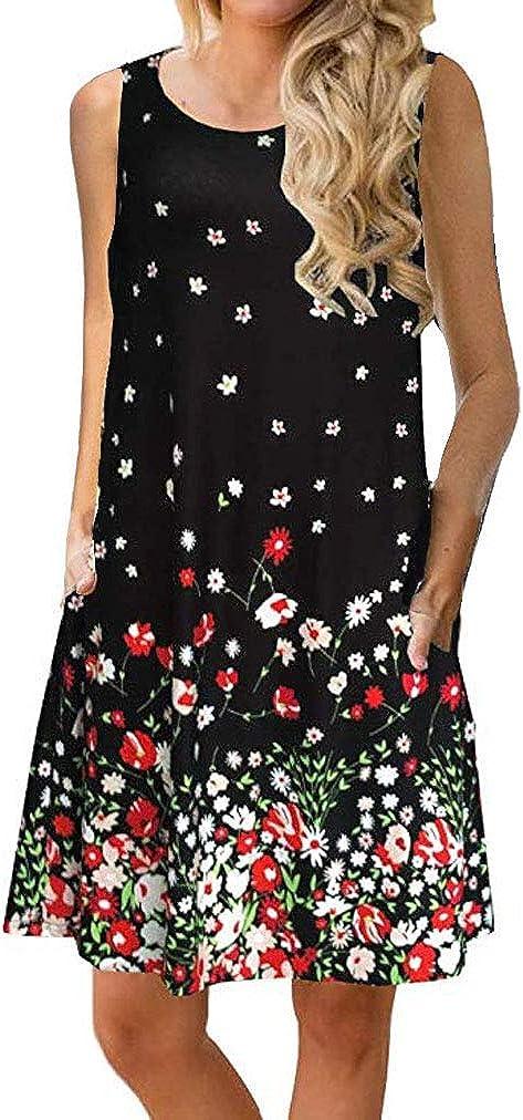 Sherosa Womens Summer Floral Print Sleeveless Sundress/Short Sleeve Pockets Casual Loose Swing T-Shirt Dress