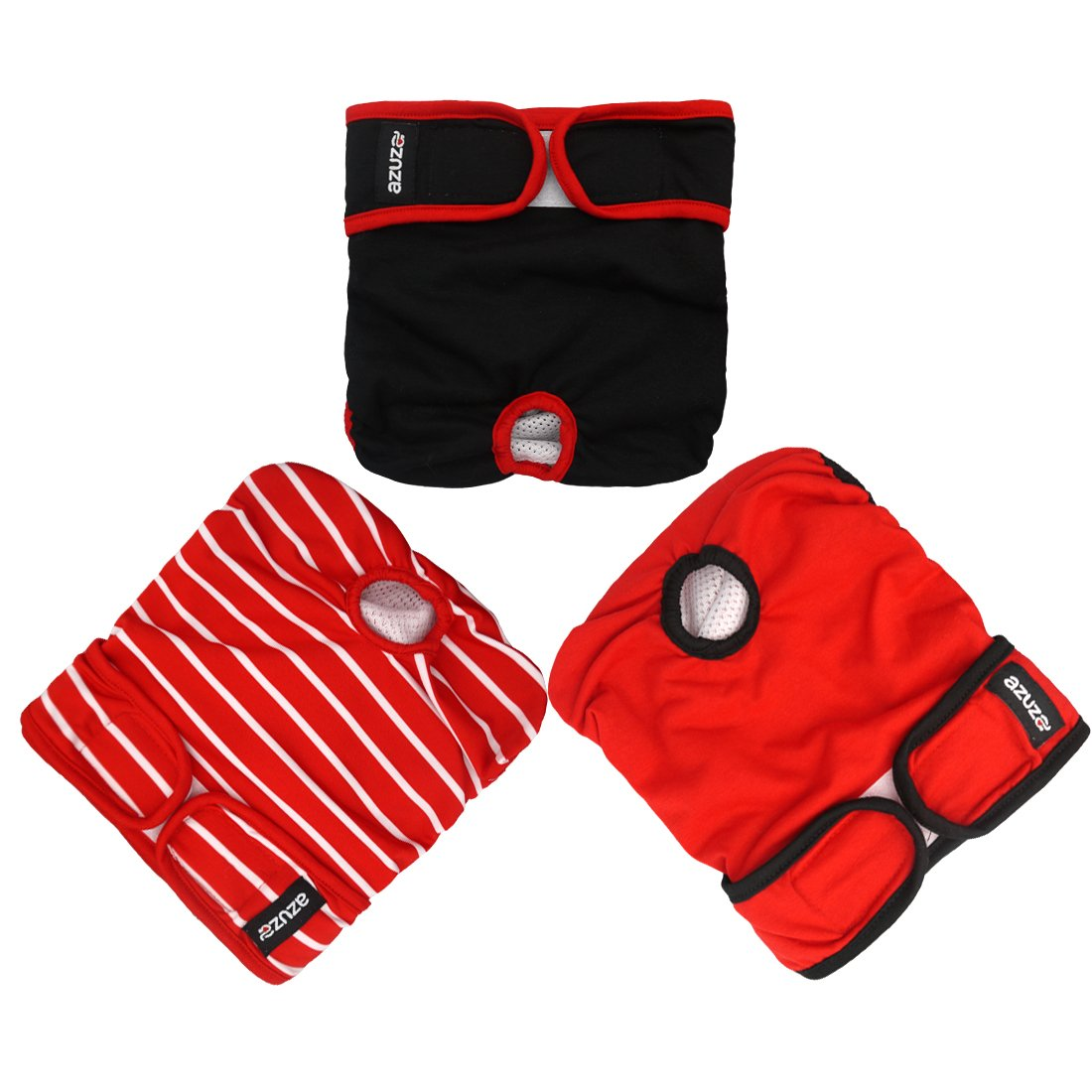 Red, Black, Stripe XS (Waist  8-11'') Red, Black, Stripe XS (Waist  8-11'') azuza Washable Dog Diapers (3 Pack) Reusable Sanitary Wraps Panties for Female and Male Pets Breathable with Inside Pocket Waist 8''-11  for Mini Dog Puppy
