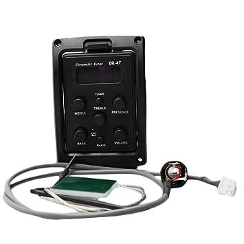 EQ-4T 4 Band Pickup EQ Preamp con afinador para guitarra acústica con sintonizador LCD y control de volumen Preamplificador de guitarra eléctrica: ...