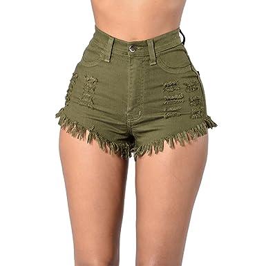 3aa0f7582ad2 Youthny Femme Ultra Short en Jean à Franges Trous Taille Haute Vintage d été