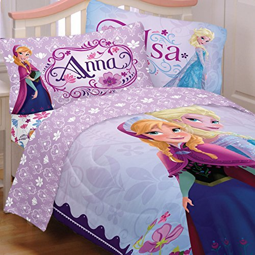Disney's Frozen Princess Anna & Elsa Full Comforter & Sheet Set T (5 Piece Bed In A Bag) by Disney]()
