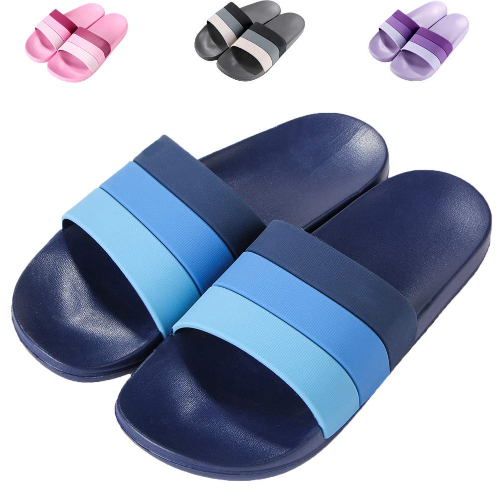 0ccdbee4bb1bd0 Galleon - 17KM Women s Shower Slipper Non Slip Open Toe Bath Slippers  Quickly Drying Indoor House Slide Sandals Navy Blue