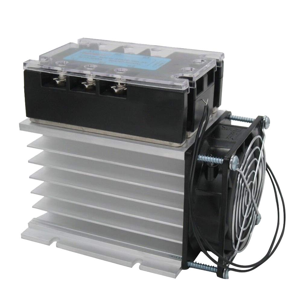twidec/ MT3-40DA Temperature Control 3 Phase Solid State Relay 40DA SSR Relay DC to AC 40A 3-32VDC to 40-480V AC SSR Relay + Aluminum Heat Sink + Electric Fan