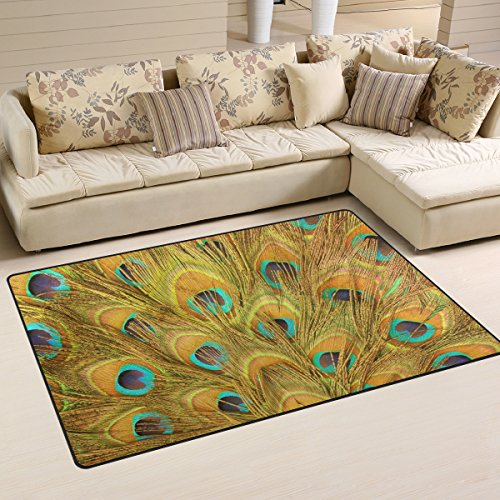 Gold Feather Peacock Pad - WOZO Gold Peacock Feather Area Rug Rugs Non-Slip Floor Mat Doormats for Living Room Bedroom 60 x 39 inches