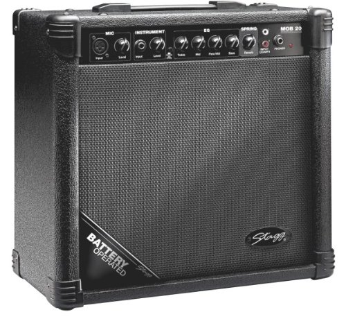 Stagg MOB20 USA 20 Watt RMS Battery Operated Acoustic Guitar Amplifier with Spring Reverb by Stagg