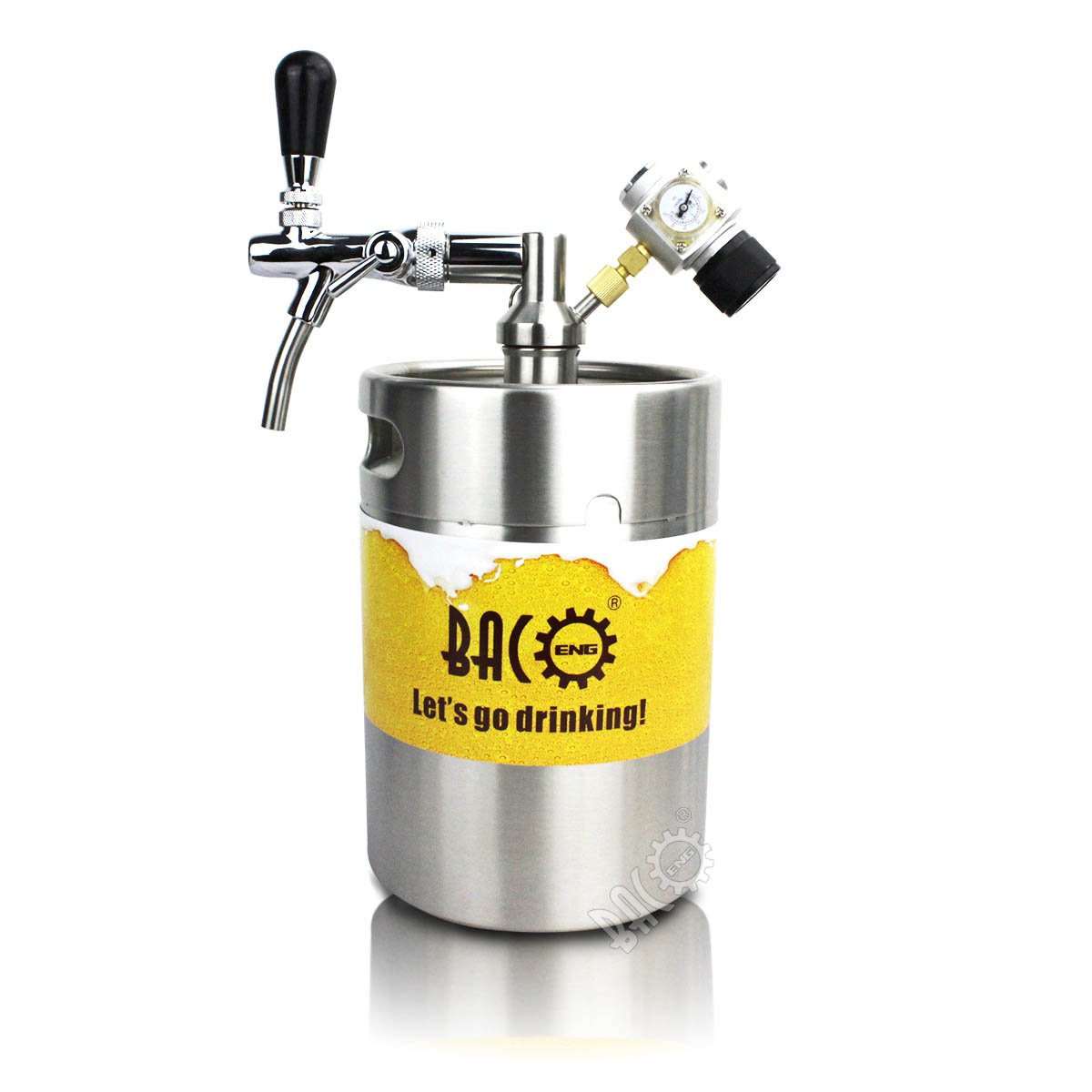 BACOENG 5L Pressurized Keg Growler with Heavy Duty CO2 Secondary Regulator and Flow Control Faucet Baco Engineering