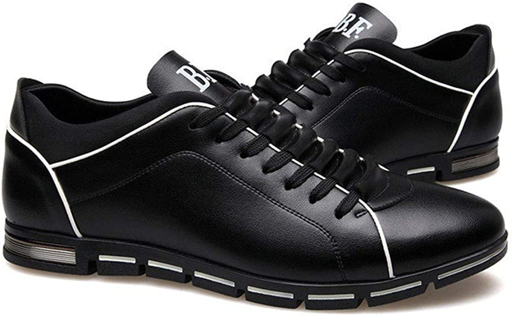 KEYIA Hommes daffaires Solide en Cuir Sport Round Flat Toe Chaussures Casual