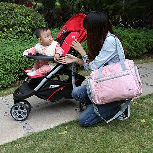 Yodo roomy cochecito de bebé bolsa de pañales para madres–Plus limpiador dispensador caso, cochecito correas y aislado Biberón–Bolsa de soporte por asa o correa para el hombro ajustable, Multi Rosado