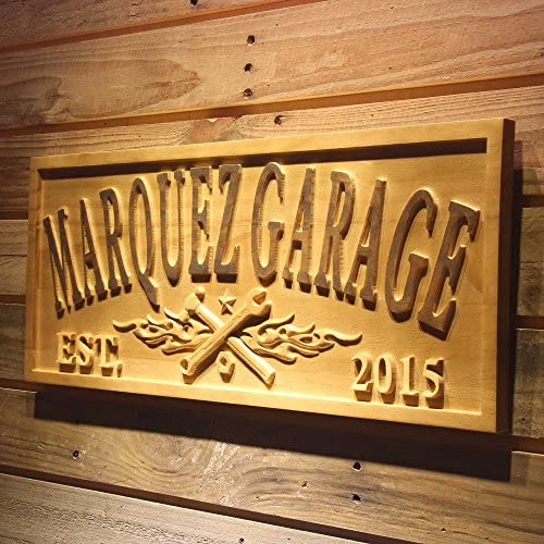 ADVPRO wpa0362 Name Personalized Garage with Established Year Man Cave Gifts Wood Engraved Wooden Sign – Standard 23 x 9.25