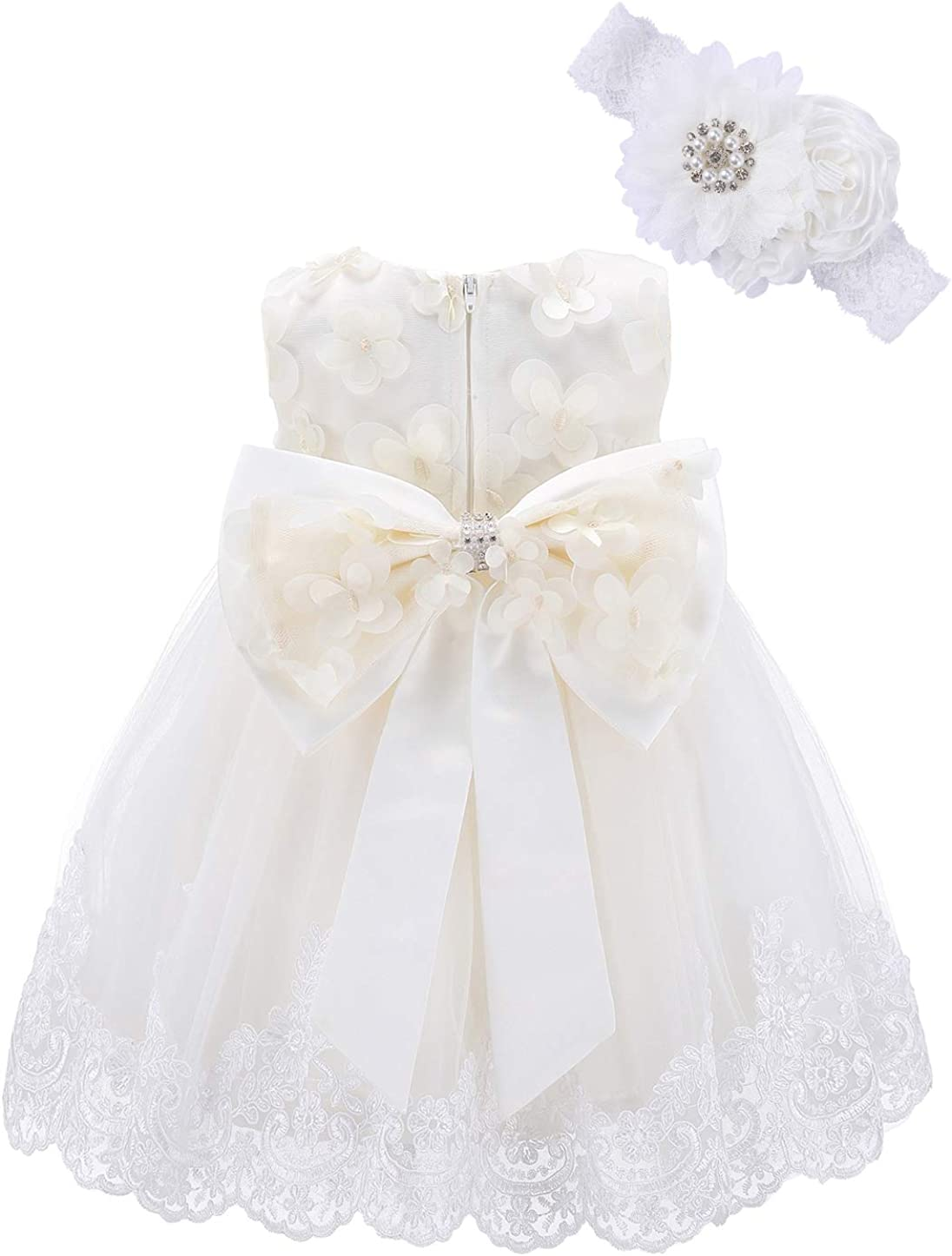 Bow Dream Lace Baby Girl Dress with Headband Butterfly Flower Applique Wedding Party Formal