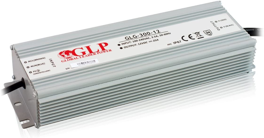 IP67 Built-in Active PFC Function 5 Years Warranty GLG-300-12 Metal case 300W 12Vdc LED Power Supply