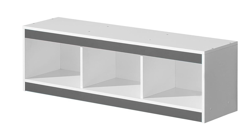 Kinderzimmer - Hängeregal/Wandregal Walter 10, Farbe: Weiß/Grau Hochglanz - 41 x 120 x 32 cm (H x B x T)