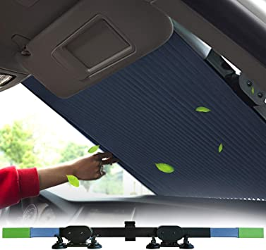 Le Remio Car Windshield Sun Shade Easy to Install and Use Universal Car Sun Shades Keep Your Vehicle Cool Retractable Sun Shade for car windowshield Black, 65CM