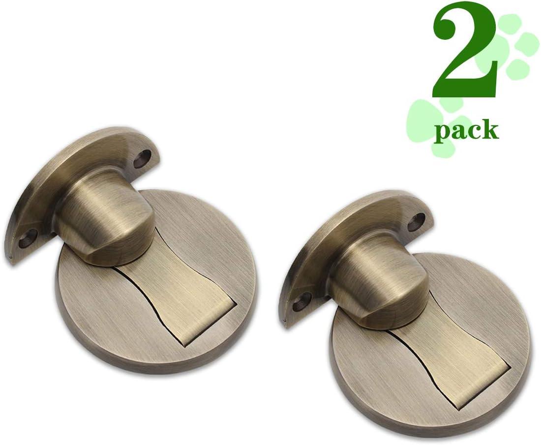 Door Stopper, Magnetic Door Stops, 2 Pack Invisible Brushed Metal Door Catches, with 3M Adhesive Tape, No Drilling, Soft Catch Heavy Duty Solid Door Holder, Floor Mount Door Stop, Bronze