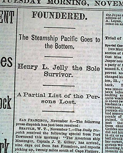SS PACIFIC Steamer & Orpheus Collision Sinking DISASTER 1875 Old Newspaper
