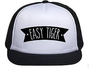 235b581b Kids Trucker Hat Easy Tiger Print Child Baby Boy Girl Funny Summer Mesh  Baseball Caps Son