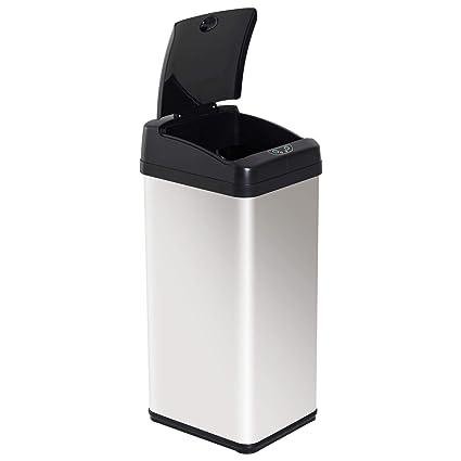 HOMCOM Papelera Reciclaje Cubo de Basura Apertura Automática Sensor para Cocina Dormitorio 48L Acero INOX