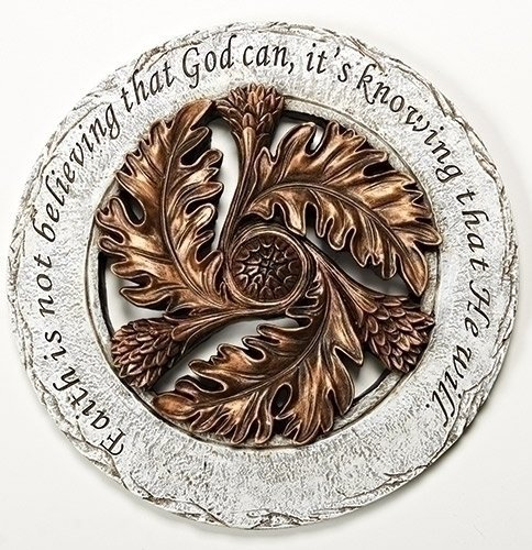 (Faith is Knowing God Will Bronze Leaf 12 inch Resin Stone Decorative Stepping Stone)