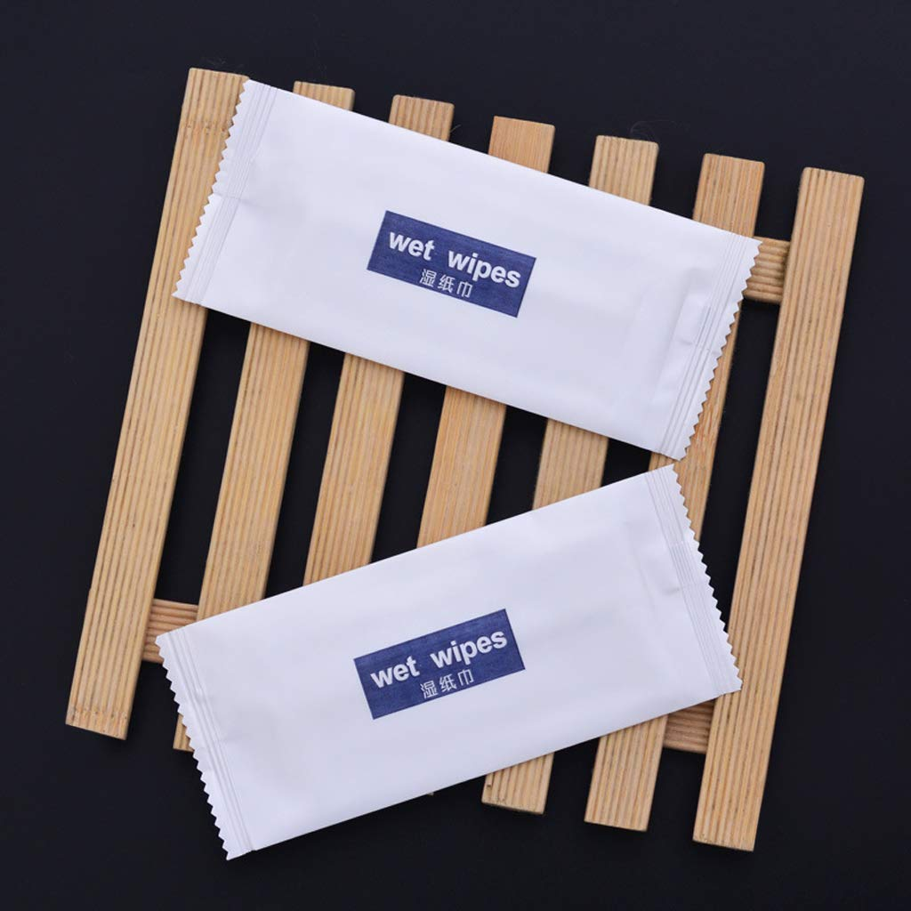 KunmniZ 10Pcs Disposable Non-Woven Wet Wipes Tissue Individually Wrapped Portable Hand Restaurant