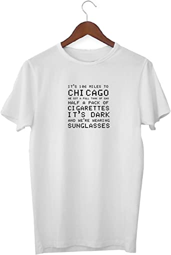 KLIMASALES Blues Brothers Poetic Chicago Quote_KK016357 Shirt T-Shirt para Los Hombres Tshirt For Men - White: Amazon.es: Ropa y accesorios