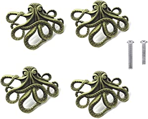 HozYi Set of 4 Octopus Drawer knobs for Your Coastal Home Metal Octopus Cabinet Knobs Nautical Beach Decor Dresser Knobs Pulls Handles (Bronze)